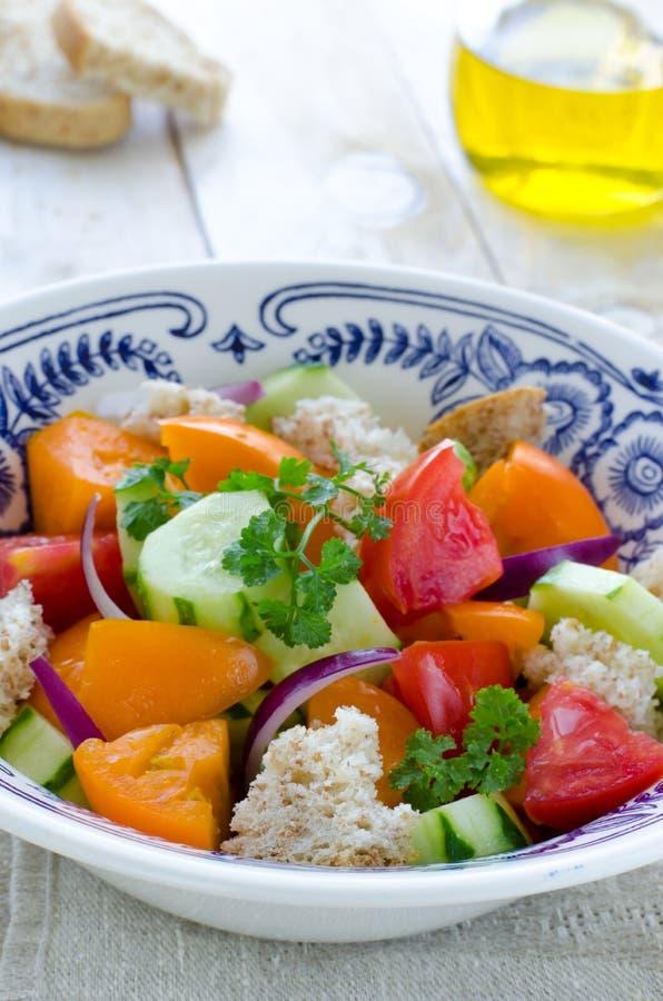 Салат Panzanella свежих овощей тосканский стоковое фото