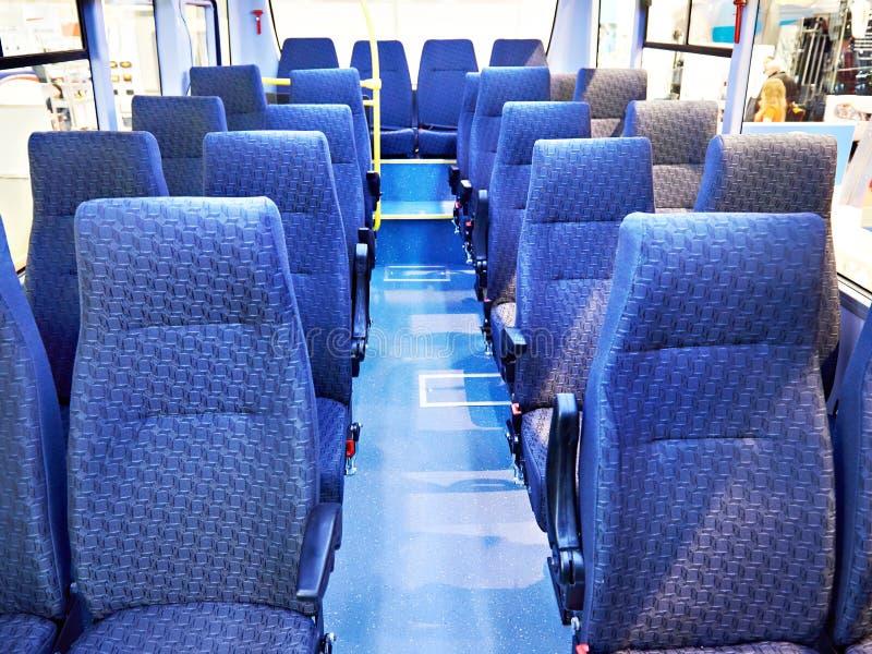 Салон автобуса с местами стоковое фото