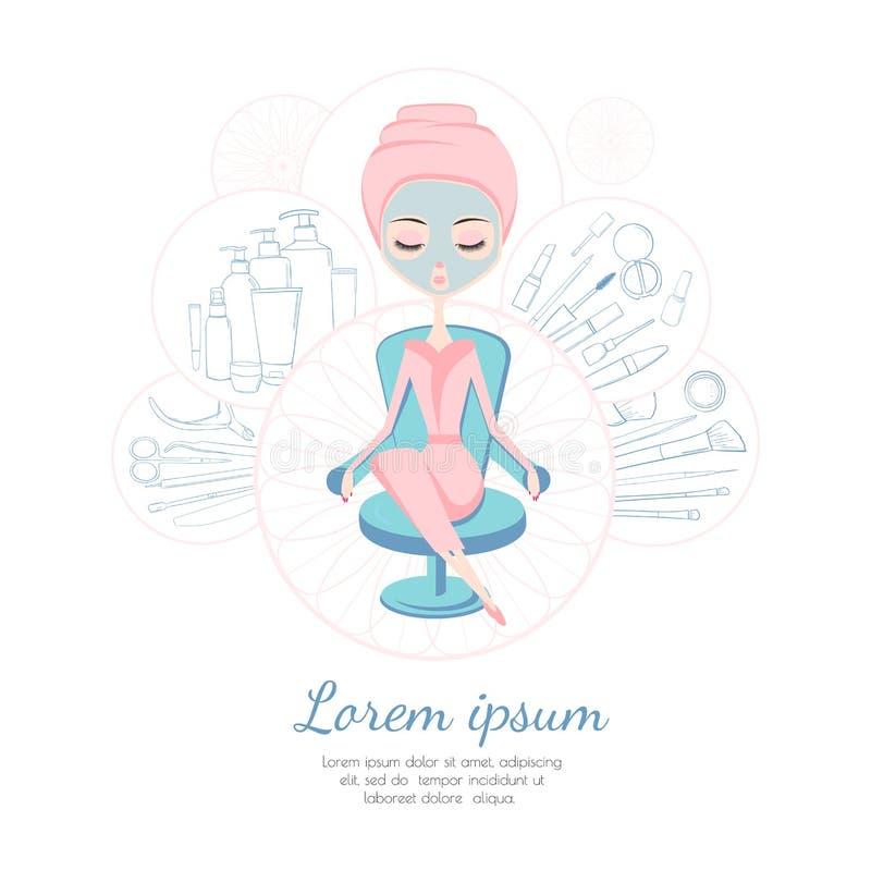 Салон красоты Дизайн шаблона для рекламировать или рогульки Девушка делая обработку курорта косметические продукты бесплатная иллюстрация