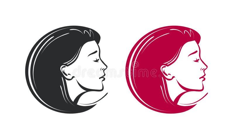 Салон красоты, курорт, логотип парикмахерскаи Красивые ярлык или значок молодой женщины также вектор иллюстрации притяжки corel иллюстрация штока