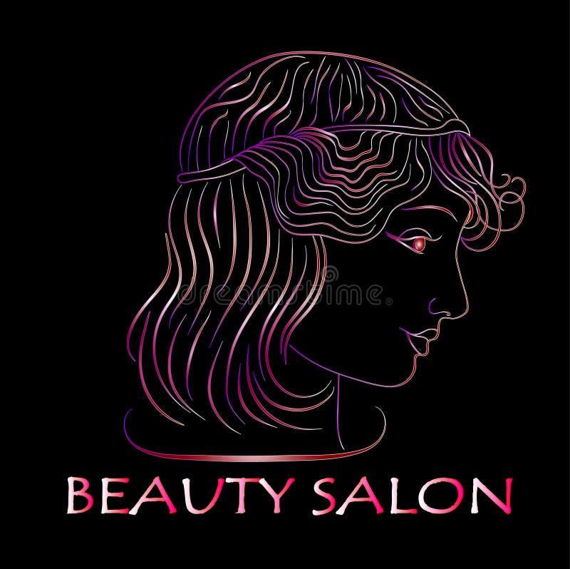 Салон красоты, неоновый профиль девушки на черной предпосылке иллюстрации иллюстрация вектора