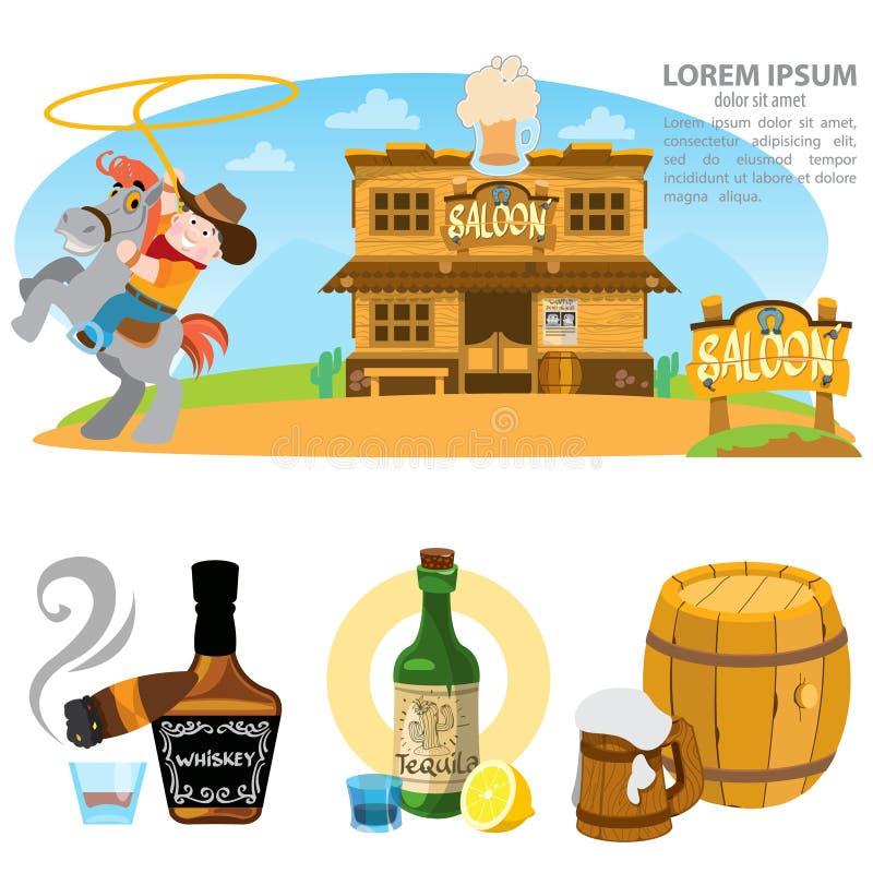 Салон установил иллюстраций Ковбой Дикого Запада, алкоголь, развлечения бесплатная иллюстрация