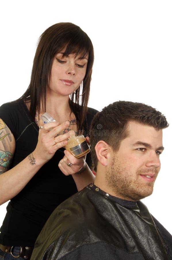 салон pomade волос красотки стоковая фотография