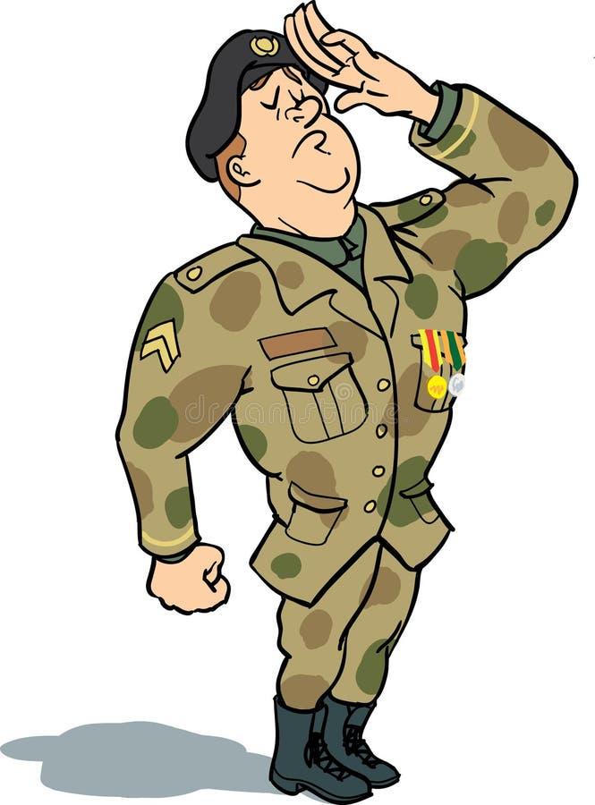 салютуя воин иллюстрация вектора
