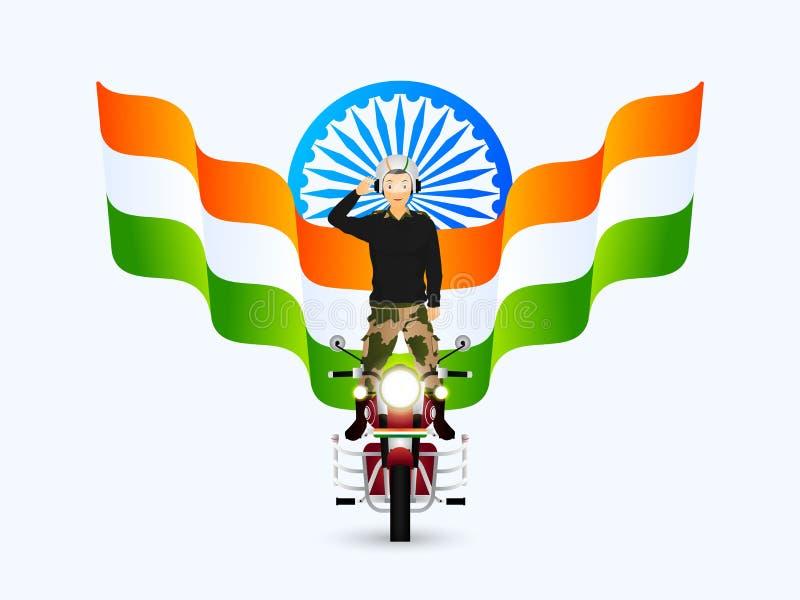 Салютуя офицер армии выполняя эффектное выступление на пуле с индийским волнистым флагом и иллюстрацию колеса Ashoka для фестивал иллюстрация штока