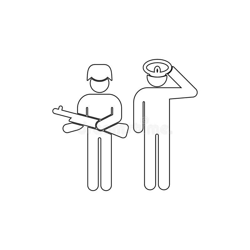 Салют, войска, значок плана солдата Смогите быть использовано для сети, логотипа, мобильного приложения, UI, UX бесплатная иллюстрация