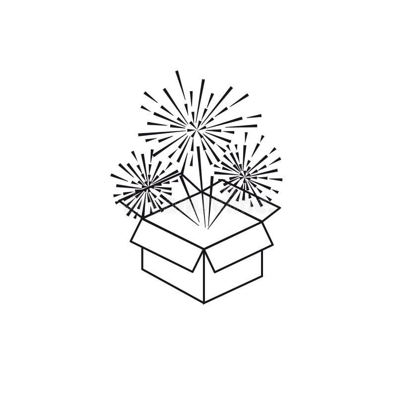 Салют значка праздничный от коробки на белой предпосылке бесплатная иллюстрация