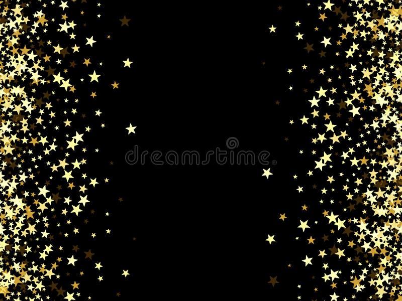 Салют золотых звезд на черном фоне бесплатная иллюстрация