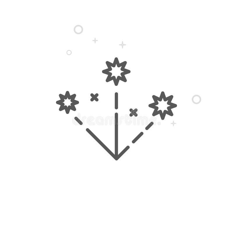 Салют рождества, линия значок вектора фейерверка, символ, пиктограмма, знак Светлая геометрическая предпосылка Editable ход иллюстрация штока
