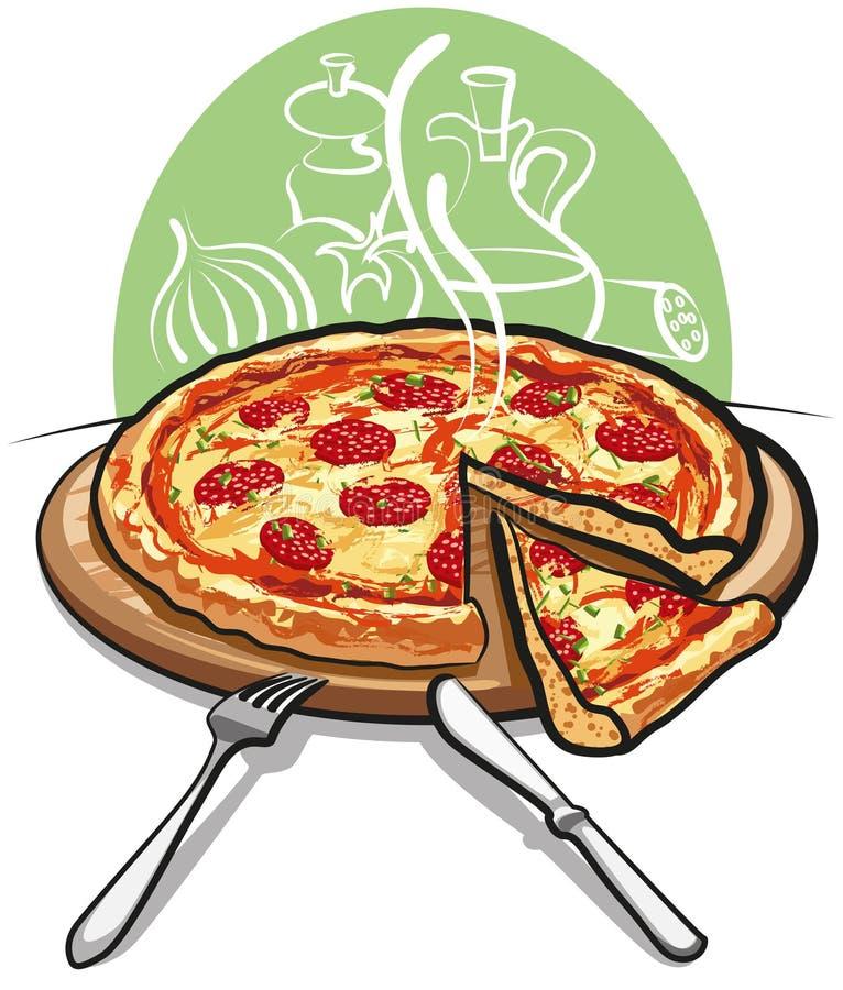 салями пиццы иллюстрация вектора