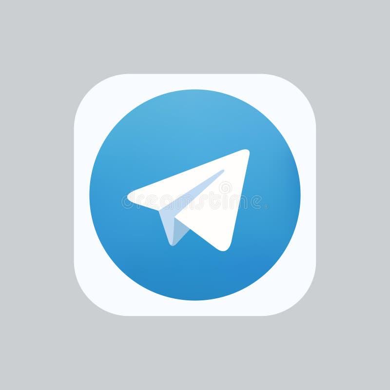 Самара, Российская Федерация - 4-ое августа 2018: Редакционная анимация Значок логотипа телеграммы Телеграммы одно самого популяр иллюстрация вектора