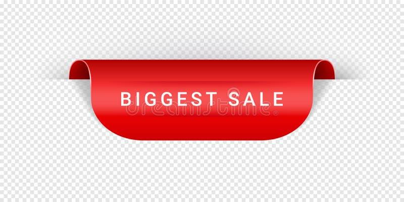 Самая большая лента бумаги вектора стиля Origami стикера, бирки, знамени, ярлыка, знака или ленты вектора продажи реалистическая  иллюстрация штока