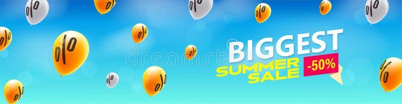 Самая большая продажа лета Творческое знамя с летанием вверх по воздушным шарам на предпосылке голубого неба Скидки увеличивают в иллюстрация штока