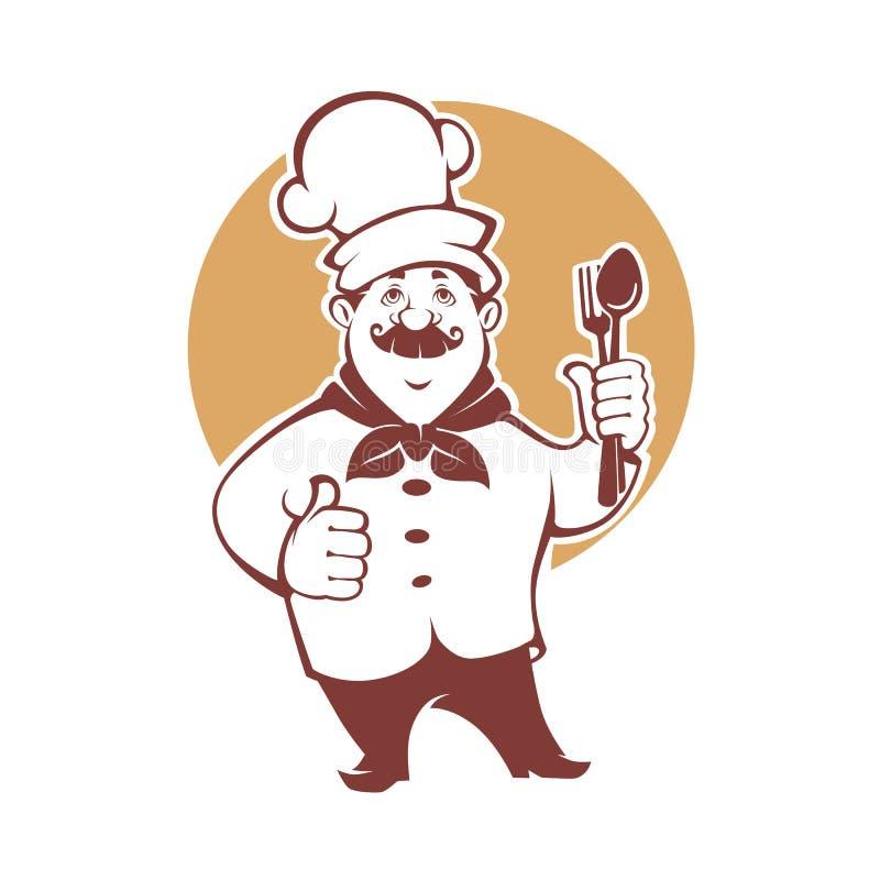 Самая лучшая еда, счастливый шеф-повар шаржа, иллюстрация вектора для вашего логотипа иллюстрация вектора