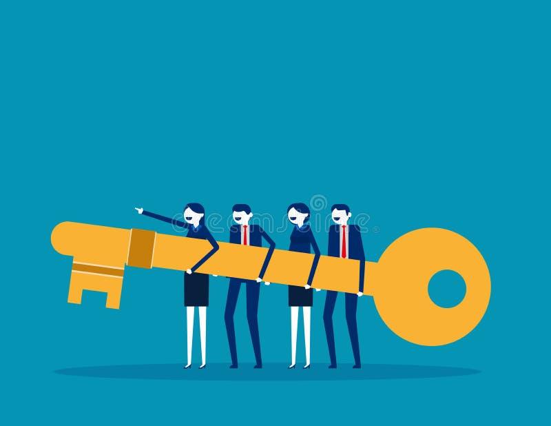 Самая лучшая команда дела держит ключ и вперед к успеху r Плоский дизайн дела, мультфильм иллюстрация вектора