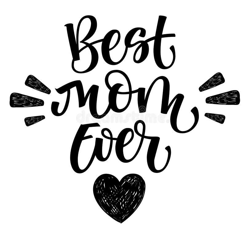 Самая лучшая рука мамы всегда пишет изолированную простую каллиграфию с оформлением сердца и лучей иллюстрация штока
