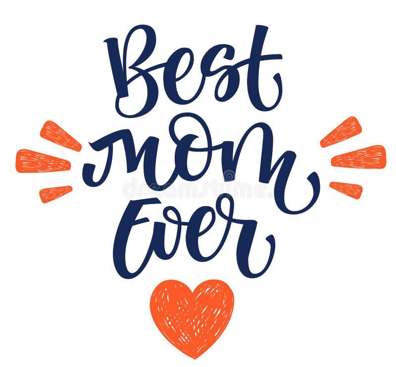 Самая лучшая рука мамы всегда пишет изолированную простую каллиграфию с оформлением сердца и лучей бесплатная иллюстрация