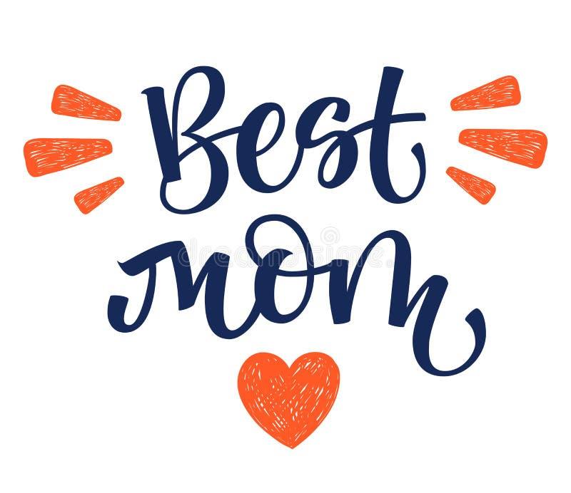 Самая лучшая рука мамы пишет изолированную простую каллиграфию с оформлением сердца и лучей бесплатная иллюстрация