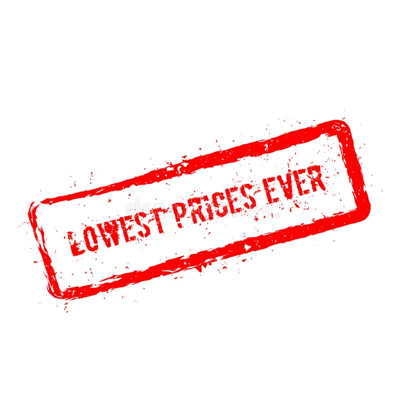 Самая низкая изолированная избитая фраза цен всегда красная иллюстрация вектора