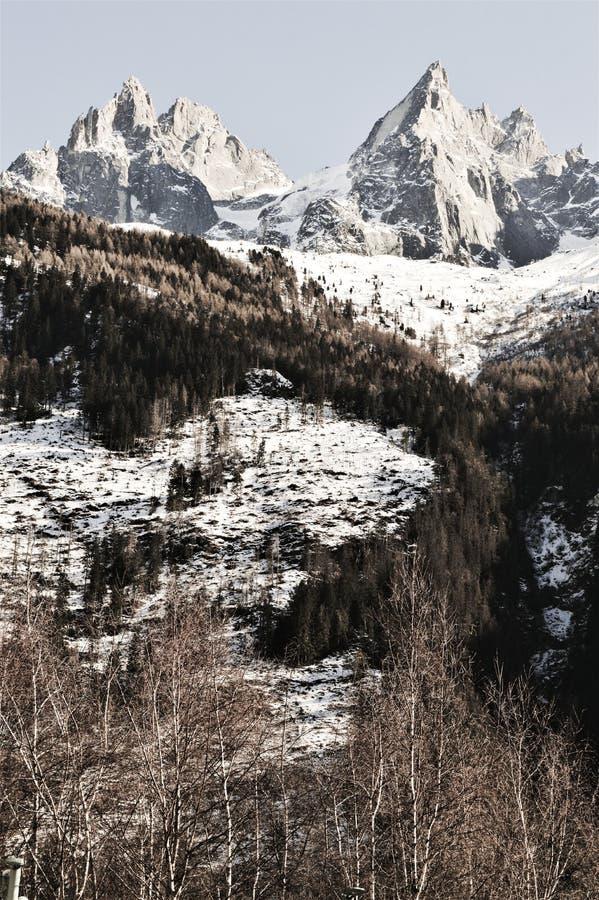 Саммиты Альпов швейцарца под снегом стоковая фотография rf