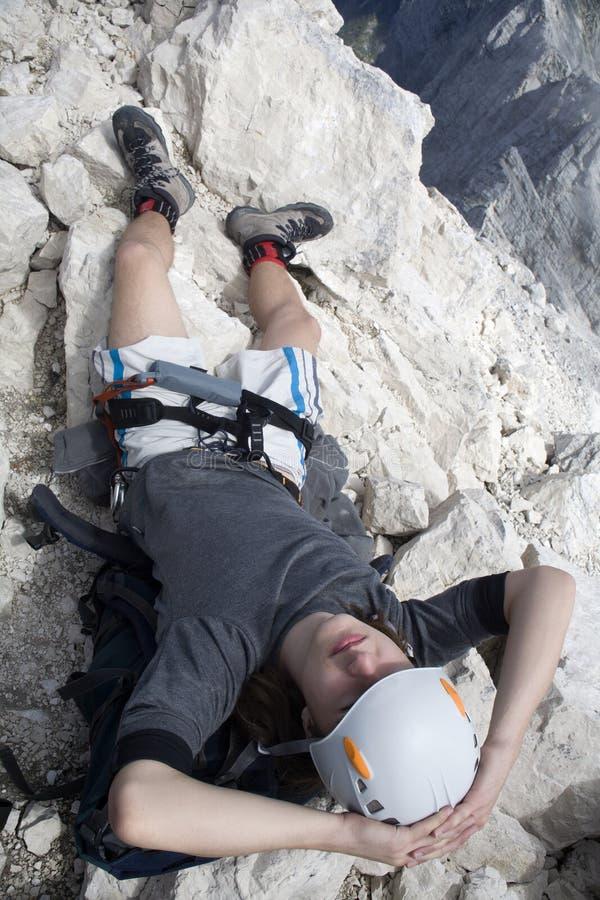 саммит альпиниста июля стоковая фотография