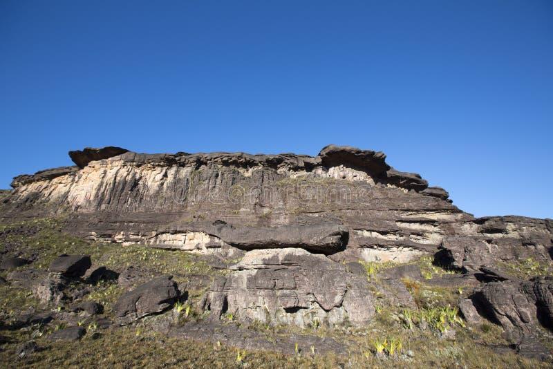 Саммит держателя Roraima, странного мира сделанного из вулканического st черноты стоковая фотография rf