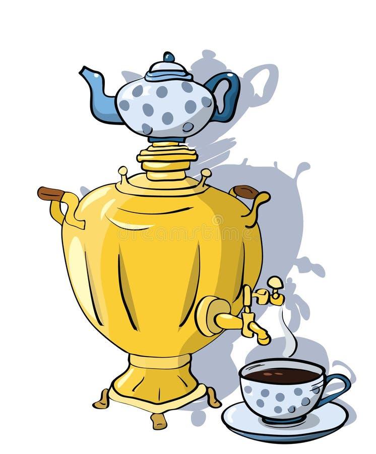 Рисунок самовар с чашками