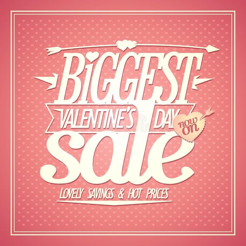 Самое большое знамя продажи дня Валентайн, прекрасные сбережения и горячие цены бесплатная иллюстрация