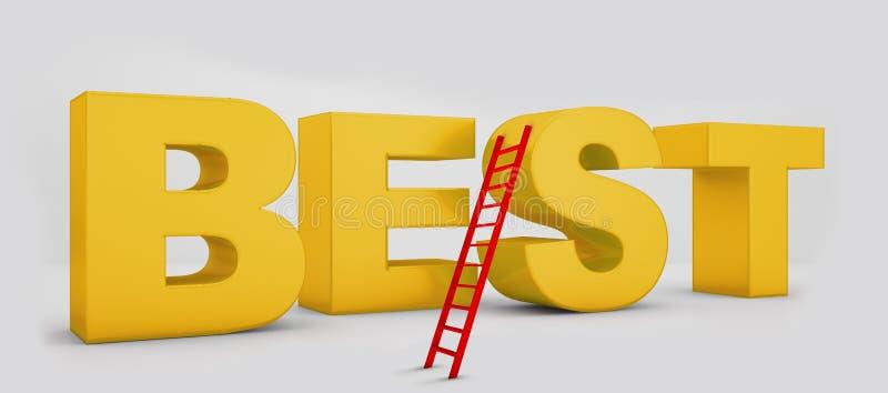 Самое лучшее желтое слово и красная лестница на предпосылке бесплатная иллюстрация