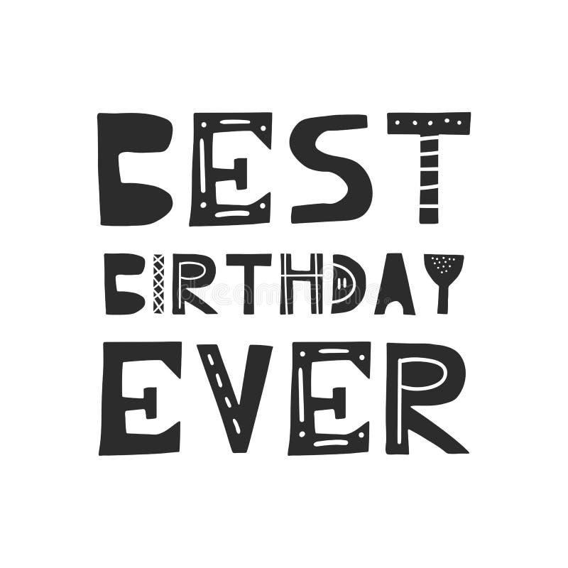 Самой лучшей плакат дня рождения питомника дня рождения вечно- милой нарисованный рукой при отрезок вне помечая буквами в скандин бесплатная иллюстрация