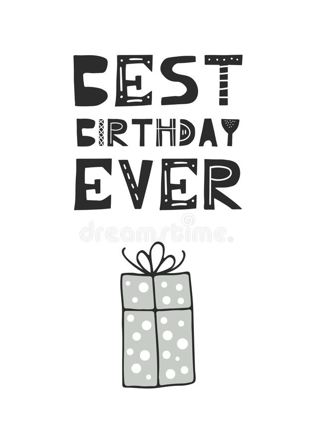 Самой лучшей плакат дня рождения питомника дня рождения вечно- нарисованный рукой с подарочной коробкой и отрезок вне помечая бук иллюстрация вектора