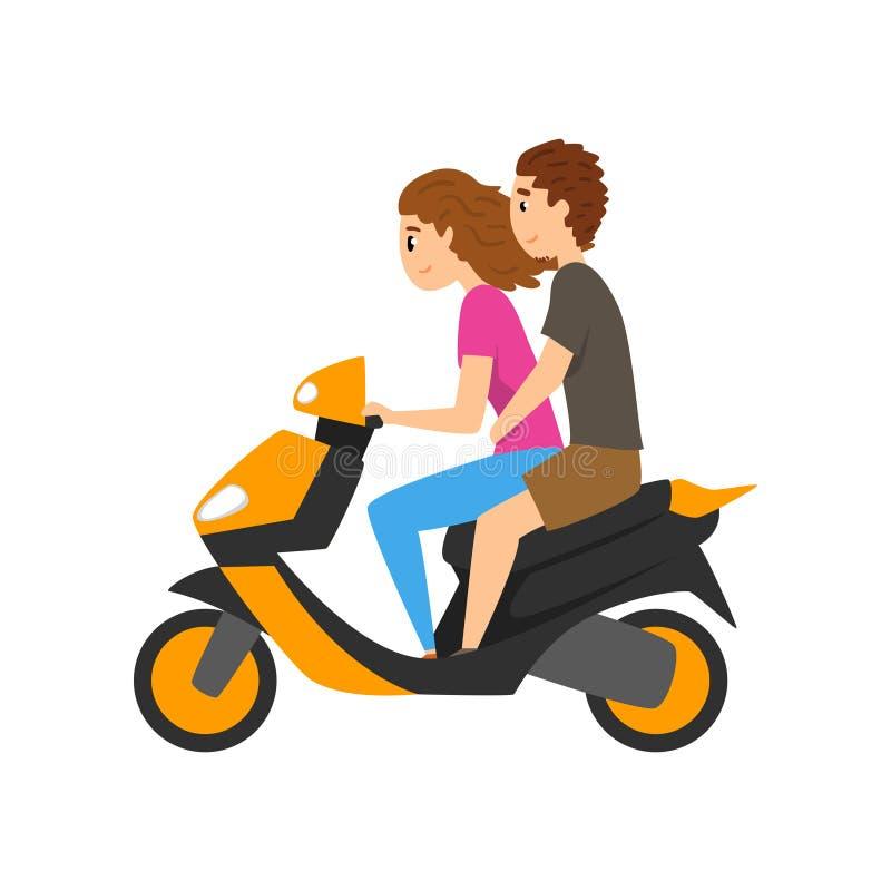 Самокат катания молодого человека и женщины, пара в влюбленности на мотоцилк vector иллюстрация на белой предпосылке иллюстрация вектора