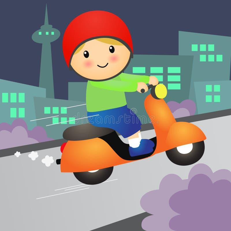 Самокат мотоцикла езды мальчика шаржа также вектор иллюстрации притяжки corel иллюстрация вектора