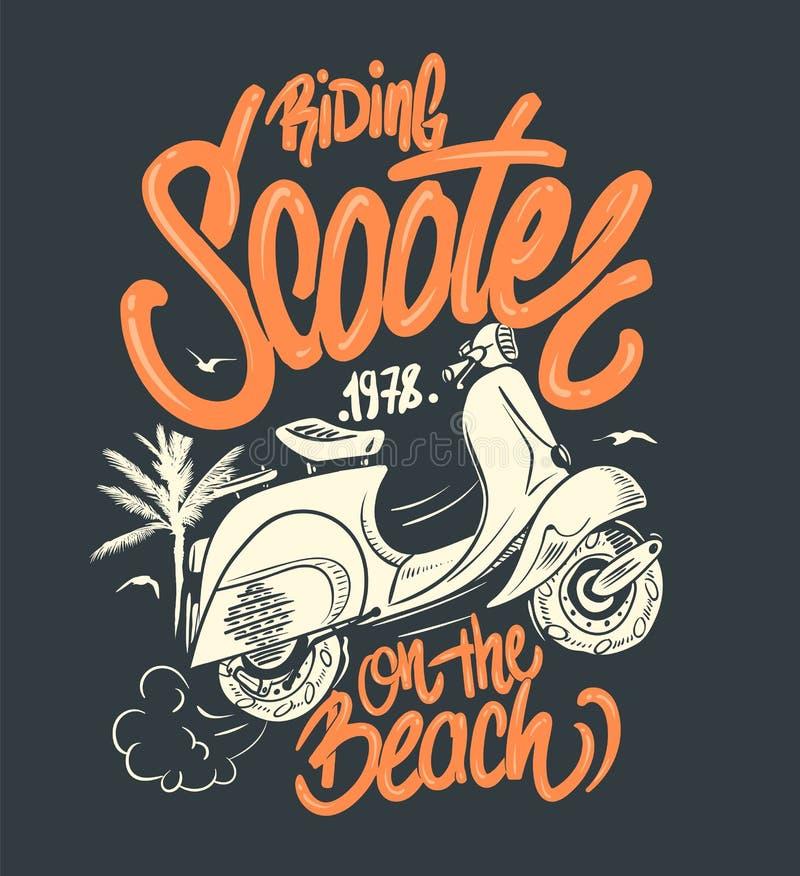 Самокат на пляже, рука нарисованная иллюстрация, печать футболки иллюстрация штока