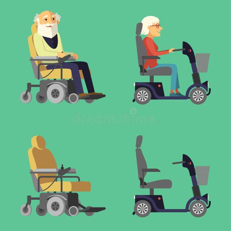 Самокат подвижности Кресло-коляска силы Зрелый гражданин в электрической кресло-коляске иллюстрация штока