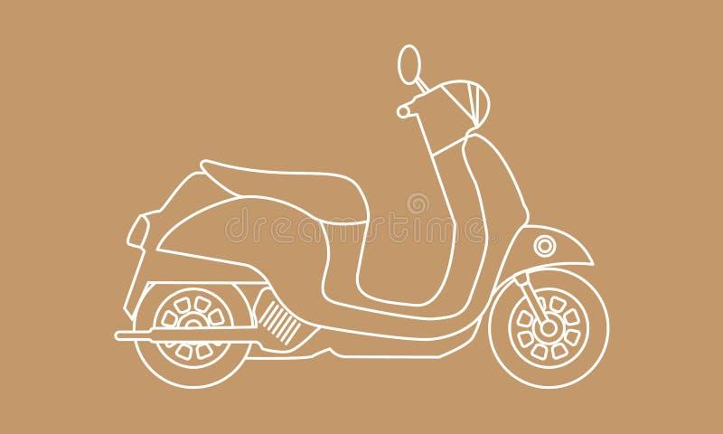 Самокат с стилем эскиза Ретро винтажный мотоцикл Иллюстрация вектора нарисованная рукой иллюстрация вектора