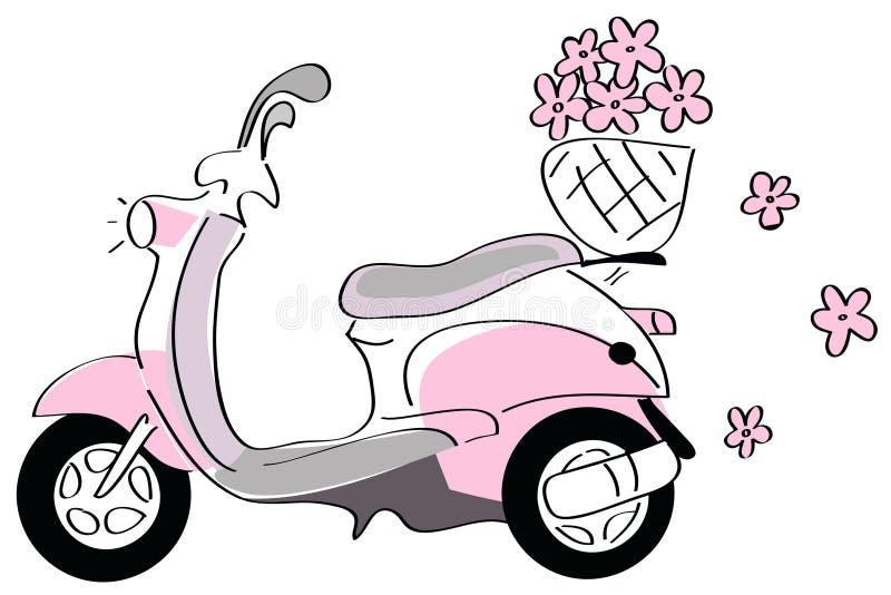 самокат цветков розовый иллюстрация вектора
