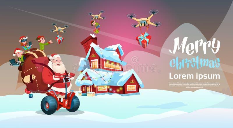 Самокат Segway езды Санта Клауса электрический, Новый Год праздника рождества поставки настоящего момента трутня летания эльфа иллюстрация штока