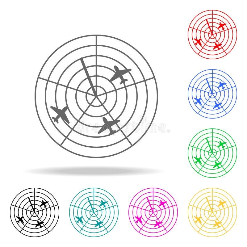 самолеты на значке радиолокатора Элементы значков авиапорта multi покрашенных Наградной качественный значок графического дизайна  иллюстрация штока