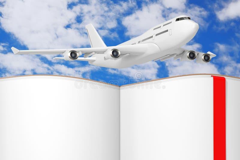 Самолет белого пассажира двигателя над раскрытой книгой с пустыми страницами для вашего дизайна r иллюстрация штока