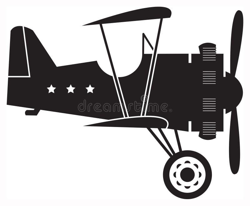 самолет-биплан ретро иллюстрация вектора