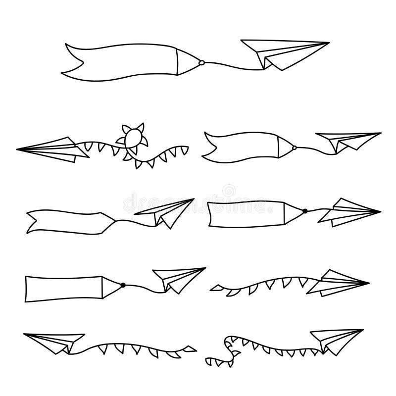 Самолет бумаги вектора и пустое рекламируя знамя бесплатная иллюстрация