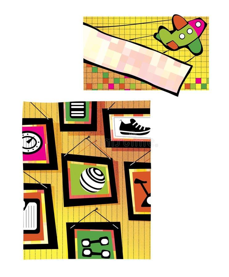 Самолет игрушки со знаменем летает вверх система изображения мультимедиа штольни Изображения на теме вида фитнеса на стене иллюстрация вектора