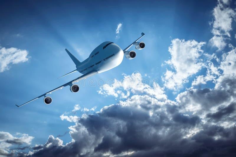Самолет и драматическое небо иллюстрация вектора