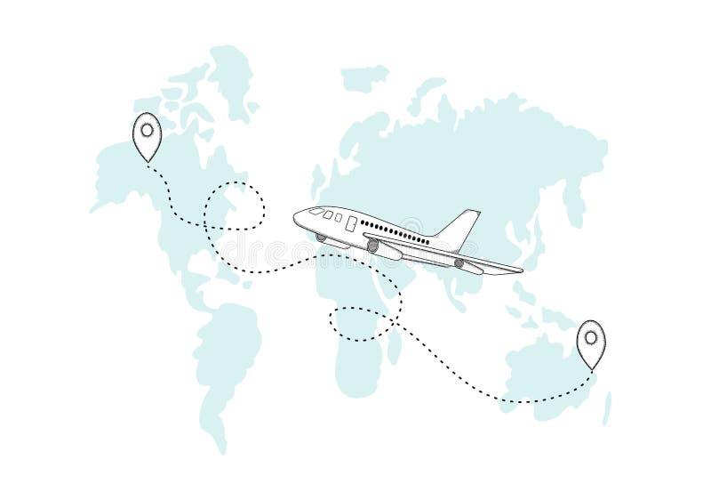 Самолет нарисованный рукой и свой след на карте мира Белое backgroun бесплатная иллюстрация