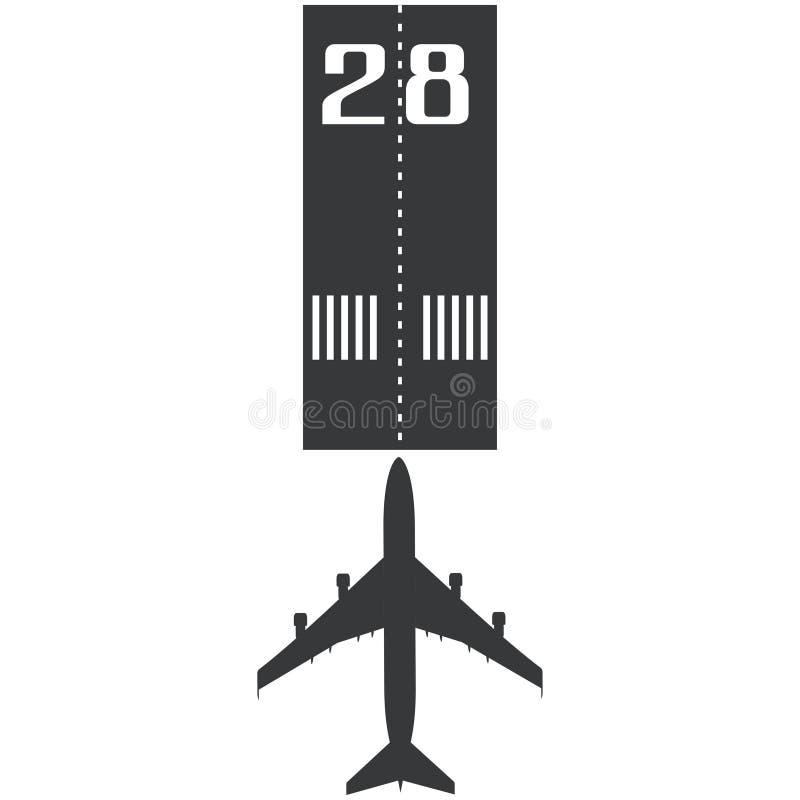 Самолет на значке взлётно-посадочная дорожка в простом стиле изолированном на белой иллюстрации вектора предпосылки бесплатная иллюстрация