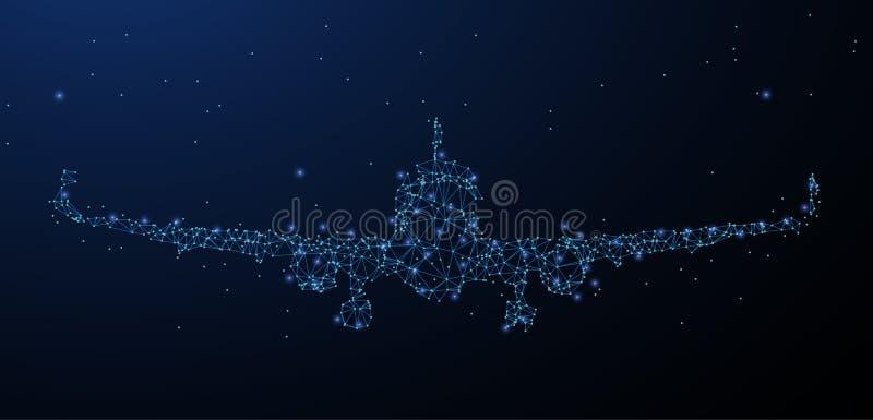 Самолет Низкая поли сетка wireframe выглядеть как созвездие Символ перемещения Иллюстрация или предпосылка бесплатная иллюстрация