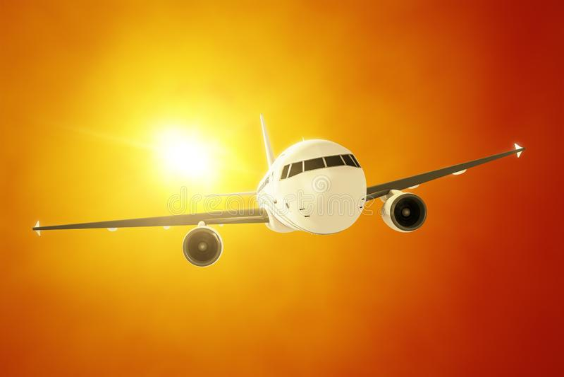 Самолет пассажира в солнце вечера иллюстрация штока