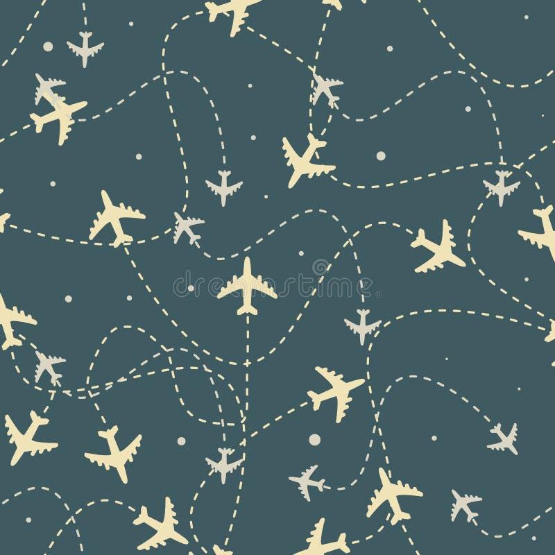 Самолет перемещения по всему миру направляет безшовную картину, предпосылку, бесконечная текстура можно использовать для обоев иллюстрация вектора