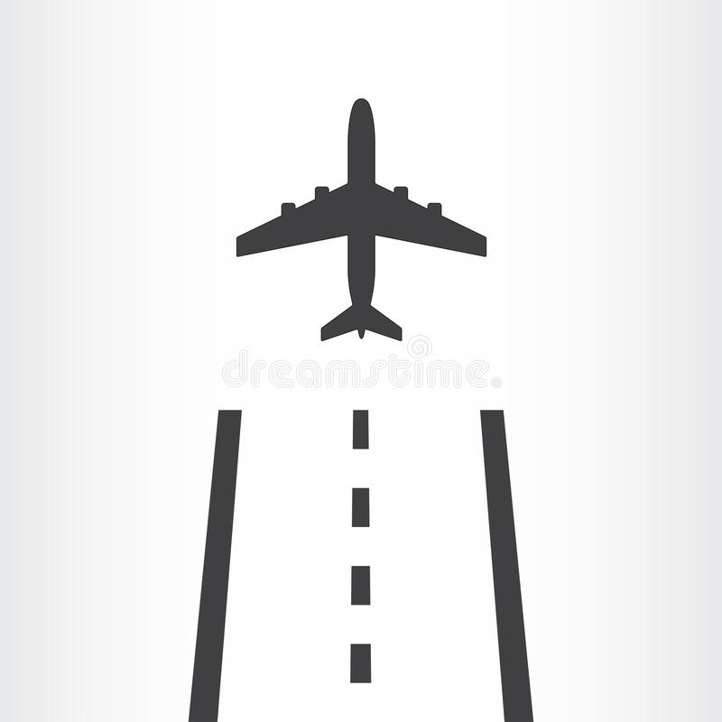Самолет принимает от значка взлётно-посадочная дорожка изолированного на белой предпосылке Самолет приземляется далеко от авиапор бесплатная иллюстрация